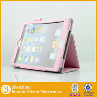 High quality leather case for ipad mini 2 with pen clip