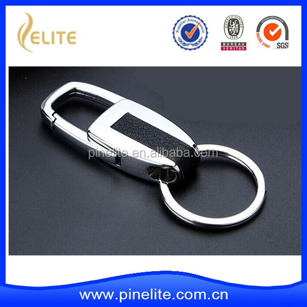 Wholesale genius leather keychain, zina alloy and leather key chain for business gift