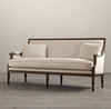 Foshan huangdian furniture sales baroque style carved wooden white linen sofa home furniture living room sofa