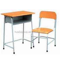 Commercial School Classroom Furniture Student Desk And Chair Set ,Wooden Top Steel Desk And Chair With Competitive Price