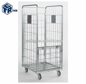 METAL ROLL CAGE CONTAINER TROLLEY EQUIPMENT FOR LAUNDRY WITH FOLDABLE DOORS