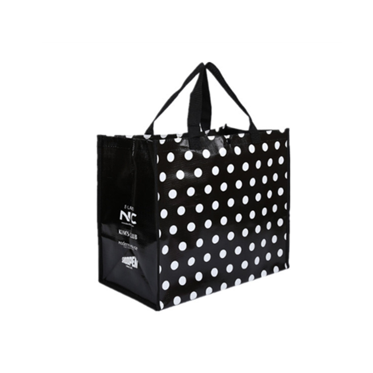 Hot sale laminated black and white printing non-woven laundry bag for shopping