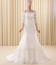 Long Sleeve Off Shoulder Beaded Lace Top Sale Trumpet Real Photo OEM Luxury Bridal Wedding Gowns