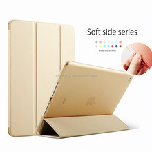 Soft Silicone Side Case dirtyproof ultrathin three fold pu leather case for ipad air cover for ipad 5 case with softedge