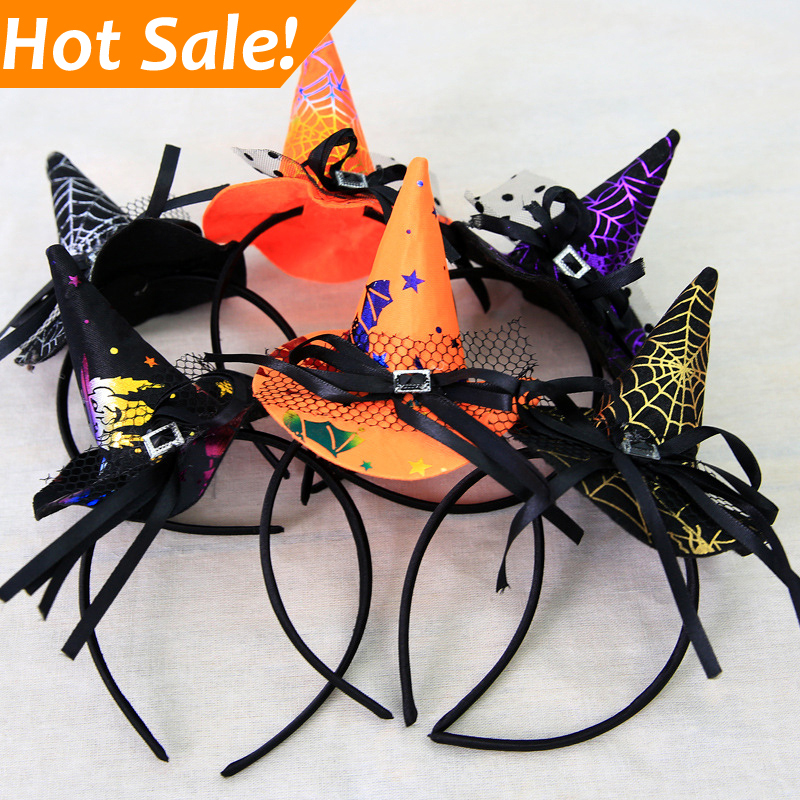 Festival Carnival Decoration halloween party Black Mini Hat silk ribbon sequin witch hat headband
