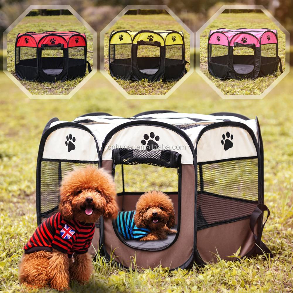 Draagbare Opvouwbare Pet Box Indoor/Outdoor Hond/Kat/Puppy Oefening pen Kennel Verwijderbare Mesh Shade Cover