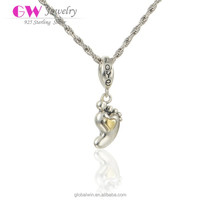 Gold Plated Heart Baby Foot Charms Jewelry For Love Babay Gift