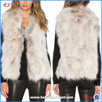 Wholesale Custom High Quality Women's Real Fur Vest Tops Ivory Color Fur Gilet
