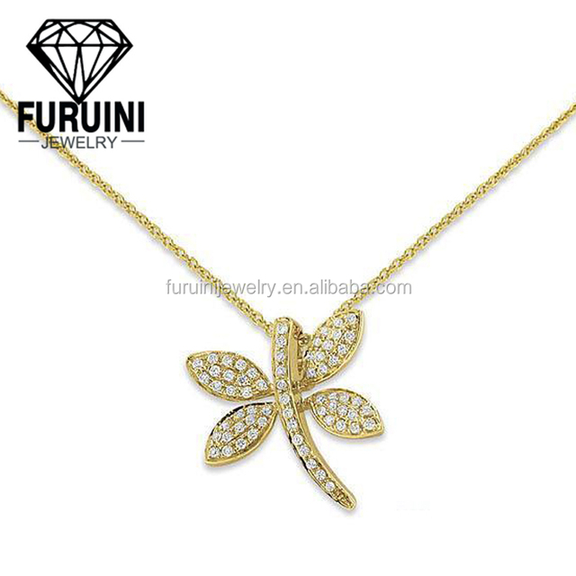 18k yellow gold plating small Dragonfly pendant jewelry,925 sterling silver pendant necklace