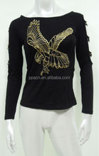 Unique-sleeved black women cotton blouse with eagle