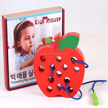Educational Wooden Toy Worms Eat Apples Hands On Toys For Children Learning