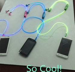 High quality Wired EL Glowing Headphone LED light earphone