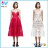 2016 New Handmade White Red Sexy Deep V-neck Flower Lace Dress Runway Elegant Dresses Hollow Out Long Dress Shoulder-Straps
