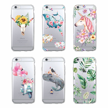 TOMOCOMO Watercolor Unicorn Whale Boho Skull Floral Phone Case Protective Soft Cat TPU Back Case for iPhone 7 /7Plus 8 8PLUS X