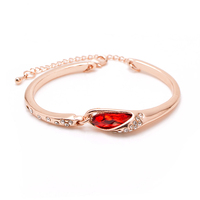 Hot Sale Real 18K Rose Gold Plated Multi Color Crystal Wedding Bridal Jewelry Bracelet Bangle C009