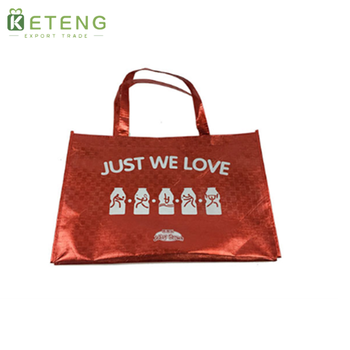 New Material Shinny Red Garment Non Woven Shipping Bag With pockets