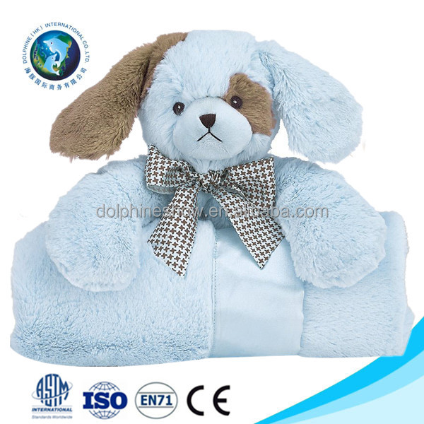 LOW MOQ Cute stuffed animal plush boy dog toy baby blanket Fashion Newborn soft touch polar flannel fleece blanket for baby