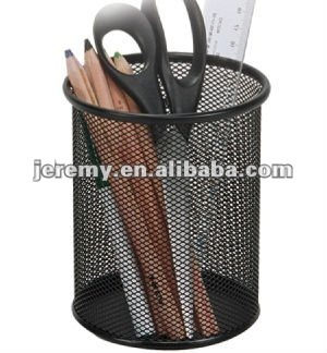 Hot sell High Quality Round metal mesh pen holder, pencil vase,office stationery set