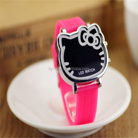 pink lady girl hello kitty watch gift silicone led kids watch