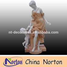 Garden lady and child stone marble carving statue NTMS0862A