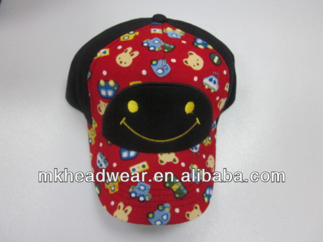 Kids corduroy six panel sport cap with flower embroidery and dot printing