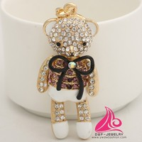 Fashion Crystal Kawaii Mini Rhinestone Bear Bow Keychain