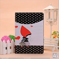 Hot new products for 2014 book style little girl pattern stand leather case for ipad mini 2 with retina