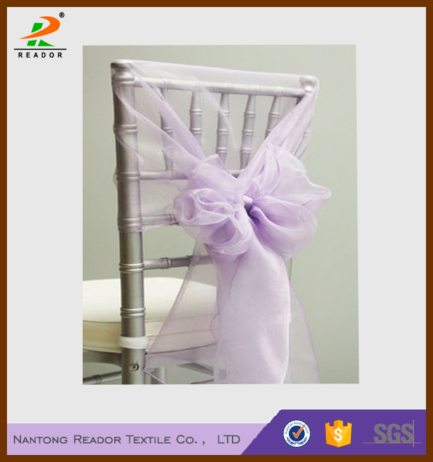 China supplier fancy purple snow organza chair hoods chair back ties sashes for wedding decoration