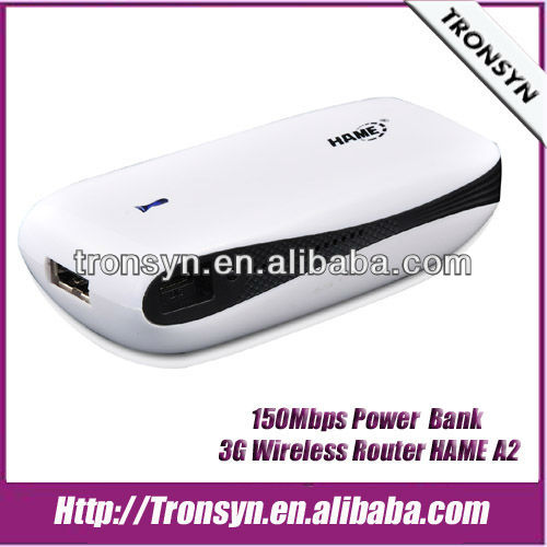 HAME A2 150Mbps 3G WiFi Router,3G Router Built-in 5200mAh Lithium battery With LAN/WAN Port and Power Bank Function