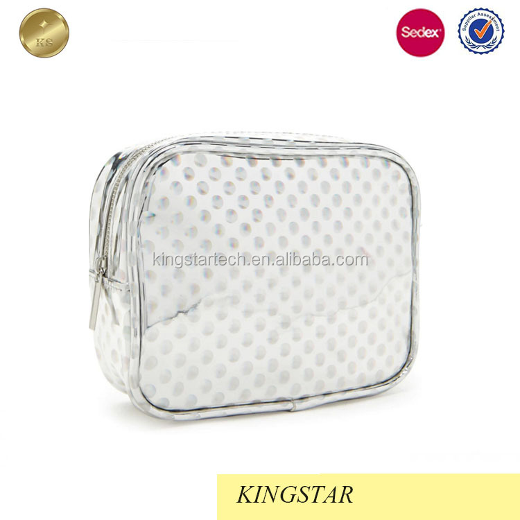 Wholesale holographic pu cosmetic bag with polka dot