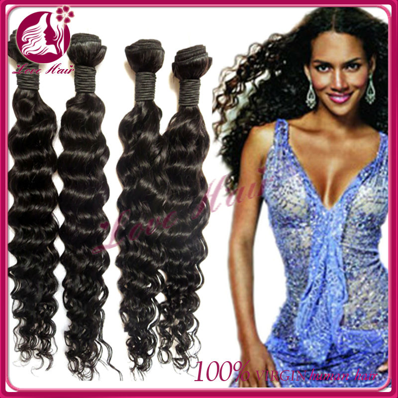 Wholesale cheap unprocessed human remy virgin hair deep wave strand hair beauty
