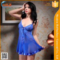HSZ-0108# Sexy lingerie long dress transparent nude sweet transparent dress girl nighty sexy nigh dress transparent