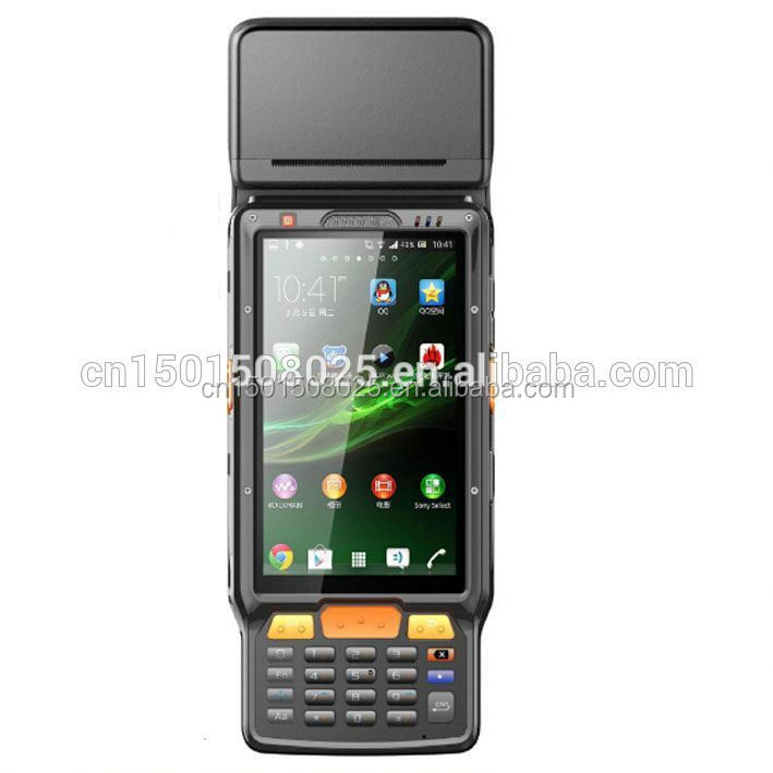 Rugged android PDA wireless handheld mobile pos terminal with printer,3G,wifi,barcode scanner