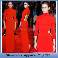 Style number FL079 long sleeve celebrity evening dress red open back floor length prom dress