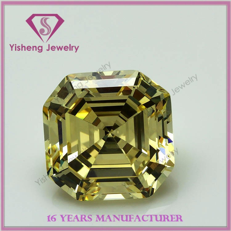 synthetic square cut light yellow cz stone for jewelry wholesale
