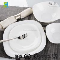 Tempered glass square dinner set, opal glassware, modern black square dinnerware