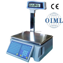 Electronic OIML Price Label Printing Barcode Scale with Pole Display