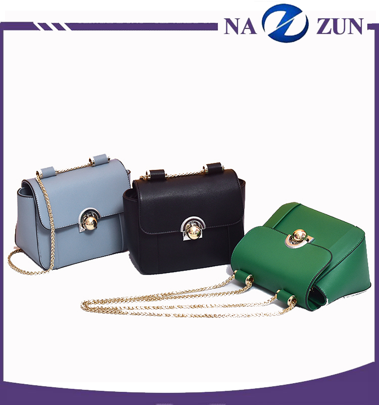 Factory Wholesale Guangzhou Quality Ladies Bag Elegant Pu Leather Metal Chain Small Fancy Shoulder Bag