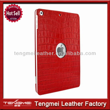 Hot selling 360 degree rotatable leather tablet case for apple ipad air with red crocodile