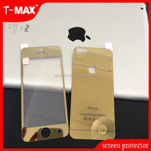 clear gold tempered glass screen protector for iphone5 0.3mm 2.5D shine glass with factory price