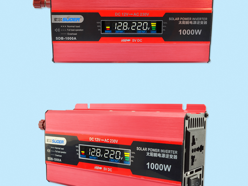 Suoer 12V 230V DC to AC 1000W Modified Sine Waveform Output Solar Power Inverter With LCD Display