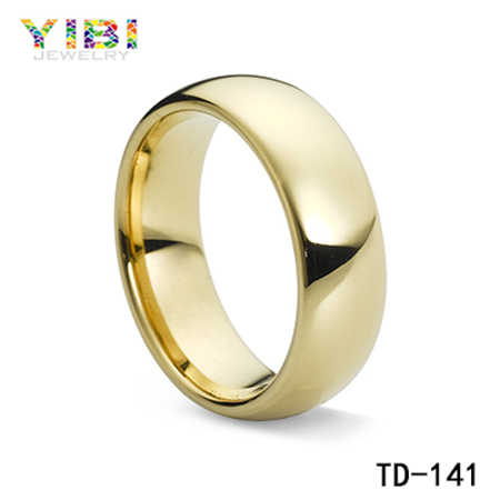 Yellow Gold Plating Sapphire Ring 18k Italian Gold Plating Tungsten Carbide Ring Costume Jewellery