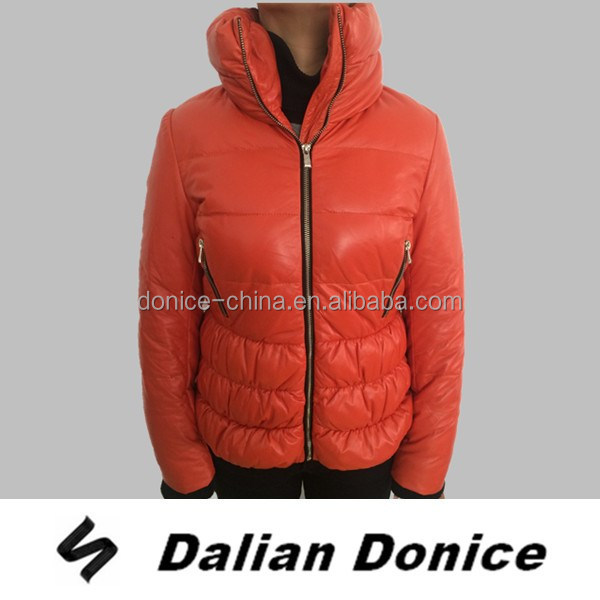 ladies waterproof jacket lamb nappa leather women down jacket garment factory
