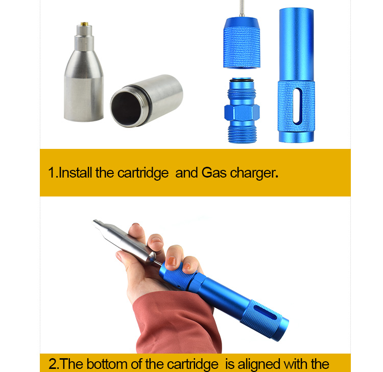 Mini Rechargeable  CO2 cartridges  Refillable Reusable gas bottle 12g Cylinder for life vest shooting airsoft gas gun