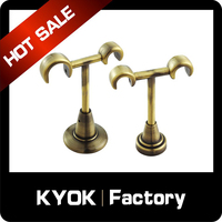KYOK Single Antique Brass Gold Metal Curtain Rod,Magnetic Curtain Tiebacks Home Accessory Wall Brackets 19/22mm