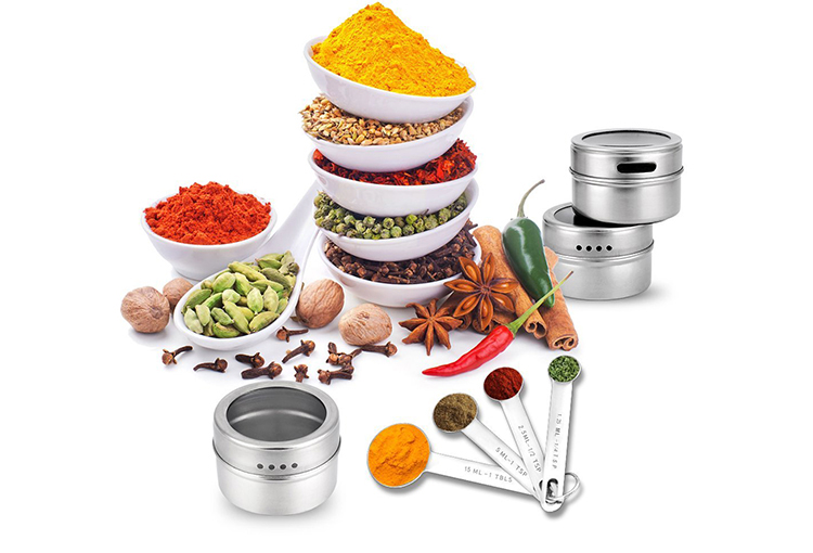 Cooking supplies kitchen utensil stainless steel 430 24pcs magnet condiment spice jar