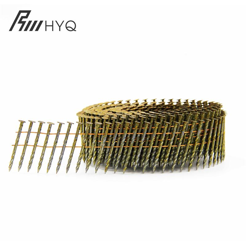 supply ring/screw/smooth yellow coated coil pallet nails made in china plant