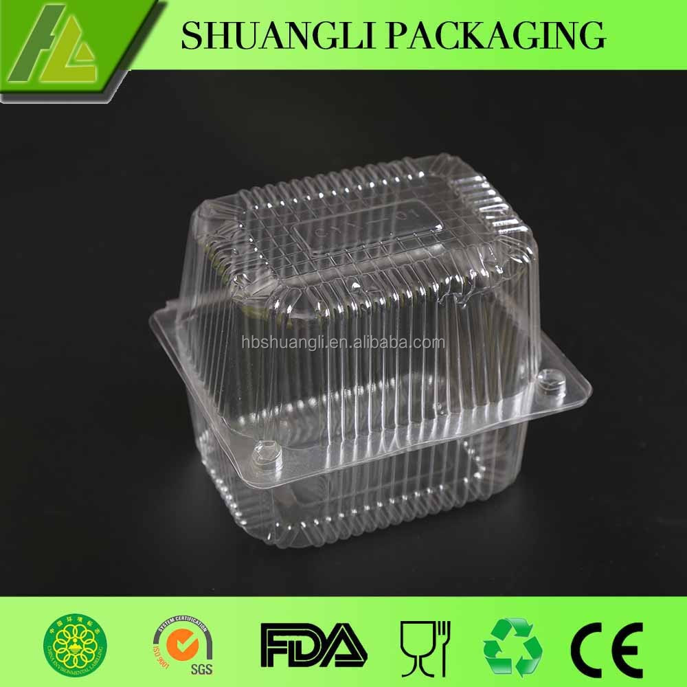 Clear transparent plastic box packaging design for cake