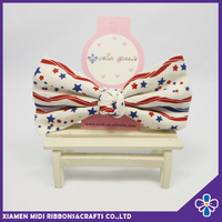 latest Korean fashion style star pattern printed vintage fabric hair bow clips wholesale