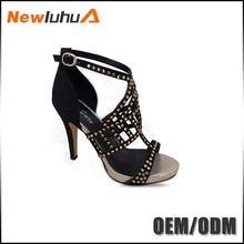 OEM orders acceptable wedge rhinestone transparent high heel sandals